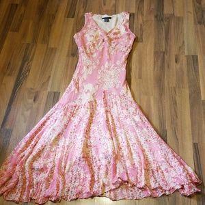 {ECI ▪︎ New York} 100% Silk Pink Floral Maxi Dress